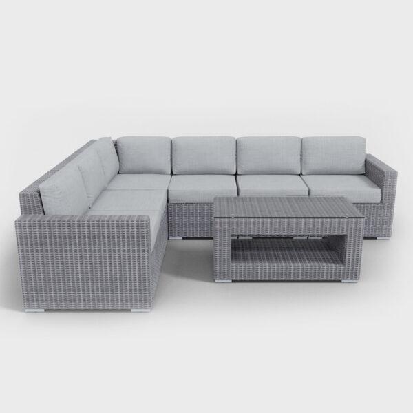 light gray sectional seven piece rattan furniture
